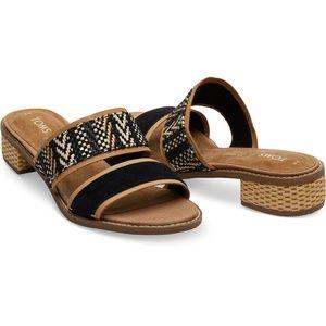 Black Suede Geometric Woven Strap Mariposa Sandals